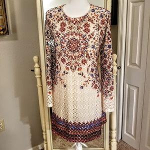 Xhilarations Bohemian Floral Crochet Dress Size XL